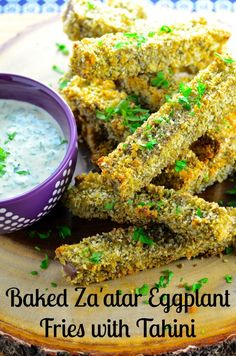 May I Have That Recipe | Baked Za'atar Eggplant Fries With Tahini Dipping Sauce | http://mayihavethatrecipe.com