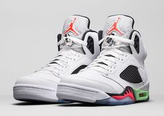 Air Jordan 5 Retro Pro Stars Color: White/Infrared 23-Light Poison Green-Black Style Code: 136027-155 Release Date: June 6th, 2015 Price: $190