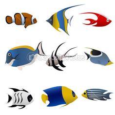Tropické ryby sada — Stock Vektor © bogalo #8399825