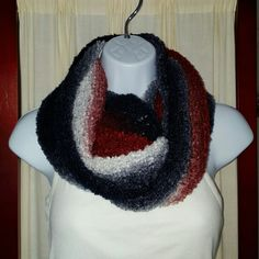 Handmade Infinity Scarf Infinity Scarf in beautiful reds, whites, and blues. Approximately 64 inches round and 11 inches wide. Handmade by me! Handmade Accessories Scarves & Wraps