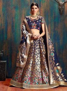 Midnight blue lehenga choli with dupatta. Fabric - Lehenga : Pure Banarasi silk with can can ; Choli : Heavy velvet satin with fusing ; Work - Fusing with heavy embroidered border and tassles on lehenga, embroidered choli a Indian Wedding Lehenga, Indian Bridal Wear, Indian Wedding Outfits, Bridal Outfits, Indian Outfits, Indian Wear, Indian Weddings, Indian Attire, Brocade Lehenga