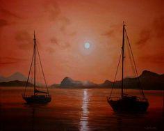 "Saatchi Art Artist Cherie Roe Dirksen; Painting, ""Red Sails"" #art"