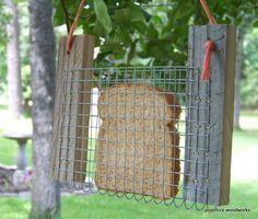 Toast or Bread Bird Feeder - Reclaimed Natural Weathered Rough Cedar - Blue, Green or Orange Hay String