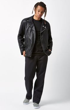 Work Pants, Pacsun, Blackwork, Black Pants, Leather Jacket, Mens Fashion, Legs, The Originals, Model
