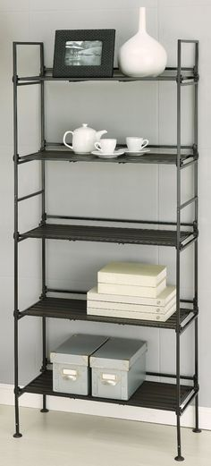 """Neu Home 5 Tier Shelf :: $99.99   Target :: [59.5""""h, 25""""w, 11.25""""d, 20 lb. capacity] Metal :: Inexpensive industrial looking shelf from Targhey. For some reason the silver one is 40 bucks less...but maybe that's because it doesn't look as good as the dark metal one.   #shelves #target"""