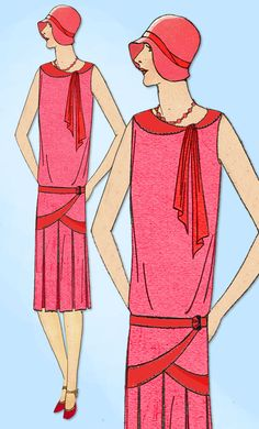 """Vintage Sewing Patterns - Ladies Home Journal Sewing Pattern 6115 Misses' Flapper Dress Pattern Hard to Find Plus Size From 1929 Factory Folded """"New Old Stock"""" Great Condition Unprinted Pattern Pieces Size Bust 20s Fashion, Art Deco Fashion, Vintage Fashion, Victorian Fashion, Style Année 20, 1920s Style, 1920 Women, Diy Vetement, Moda Vintage"""