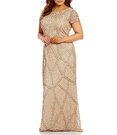 97ea50efaae Adrianna Papell Plus Geo-Pattern Beaded Short Sleeve Scoop Back Gown