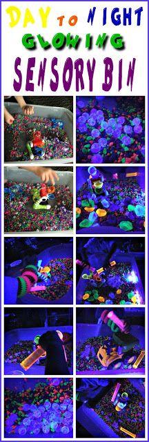 Fun Day to Night GLOWING sensory bin!