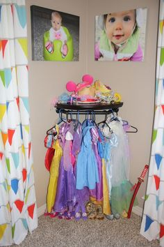 DIY Dress up Storage. use hangers on the dress form, or use drawer knobs attached to wall in varying heights