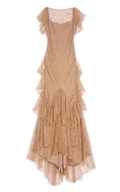 f495ad58 MARCHESA RESORT SEE DETAILS HERE: Ruffle Sleeve Lace Gown Beige Evening  Dresses, Beige Lace
