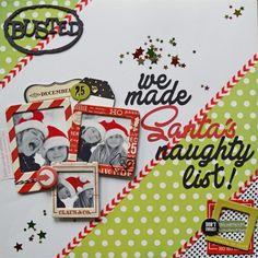 #papercrafting #scrapbook #layouts: We Made Santa's Naughty List scrapbook layout by scrappininAK