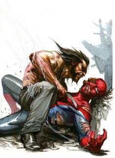 GABRIELE DELL'OTTO:SPIDER MAN VS LOGAN  #comic #art