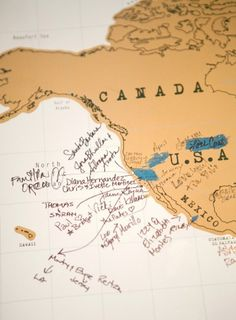 A vintage map makes a great guest book!