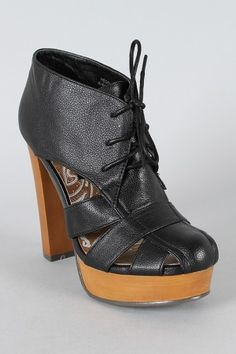 Dollhouse Hedo Cut Out Lace Up Bootie