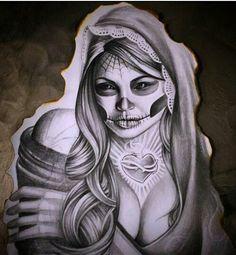 Chicano arte Art Chicano, Chicano Tattoos, Tattos, Tattoo Studio, Day Of The Dead Girl Tattoo, Art Drawings Sketches, Sketch Art, Tattoo Sketches, Sugar Skull Tattoos
