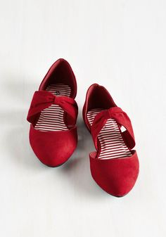 Three Strides and You're Haute Flat in Ruby. Step up to the plate in stunning style, clad in these cherry-red flats. #red #modcloth