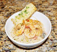 Angel Hair Pasta With Sauteed Shrimp In A Light Lemon Cream Sauce
