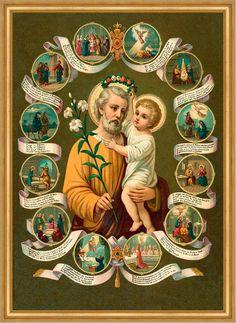 Heiliger Josef Joseph Lilie Jesuskind Schutzpatron hlg. St. LW Sankt A2 0096 - Billerantik