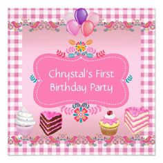 First 1st Birthday Party Girls Pink Sweets Cupcake Personalized Invite