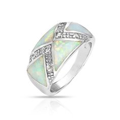 Mothers Day Gifts Bling Jewelry CZ Art Deco Style Triangle Gemstone White Opal Inlay Ring 925 Silver