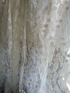 Items similar to ivory Lace Trim, vintage Lace curtain, Embroidered floral lace, floral leaves lace fabric, retro lace fabric on Etsy Vintage Curtains, Tulle Lace, Lace Fabric, Fine Linens, Ivoire, Embroidered Flowers, Vintage Lace, Floral Lace, Embroidery