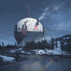 A dump of artwork by Simon Stålenhag, who recently painted the box art for No Man's Sky. - Album on Imgur
