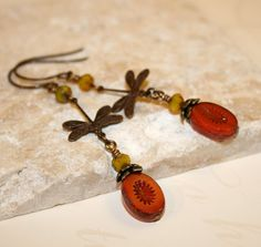 Items similar to Vintaj earrings, Vintaj jewelry, Dragonfly earrings, Czech Glass Beads, Summer jewelry, Picasso jewelry on Etsy