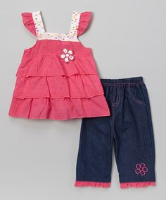 This Fuchsia Flower Tiered Top & Denim Pants - Infant & Toddler is perfect! #zulilyfinds  WOULD BE A CUTE SUMMER OUTFIT FOR HADLEY .