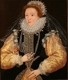 late 1580s, Attributed to George Gower (1540-1596) Elizabeth I of England,oil on panel,33×28 in (83.8×71.1 cm), The portrait was owned by Edward Drewe MP. Source/Photographer-Philip Mould Ltd Picture Archive.