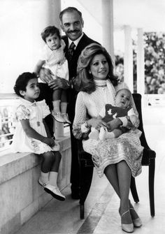 Queen Alia with King Hussein I and their children. The story of all four of King Hussein's wives - quite interesting.