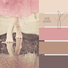 Pink puddle color chart... bathroom or bedroom colors... very pretty. Pale pink, palest of beige and a soft brown...
