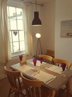 Dining room with Annie Sloan painted table in Arles and French Linen (yellow and grey). Ikea Hektar pendant lamp and Argos Photographic Lamp
