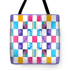 #65 Wtrclr Checkerboard Tote Bag by Expressionistart studio Priscilla Batzell.  The tote bag is machine washable, available in three different sizes, and includes a black strap for easy carrying on your shoulder.  All totes are available for worldwide shipping and include a money-back guarantee.