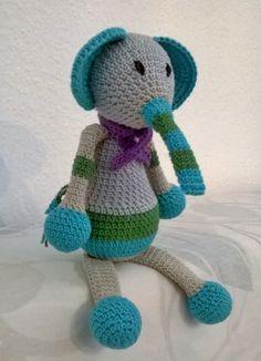 "Amigurumielaphant, crochetelephant ""Egon"" Amigurumi Toys, Tweety, Dinosaur Stuffed Animal, Crochet, Animals, Character, Art, Art Background, Animales"