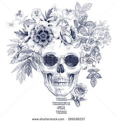Illustration on white background. Skull and roses and peonies flowers. Vector. Black and white.