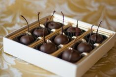 Enjoy our delicious, large chocolate cherries in a Valentines 9 box for your special someone. These cherries are a special variety of marachino called bordeaux. These chocolate cherries are coated in