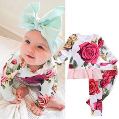Flower Baby Girl Long Sleeve Hooded Top Shirt and Pants 2 Piece Outfit Set