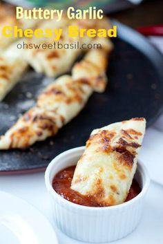 Garlic Cheesy Bread ohsweetbasil.com