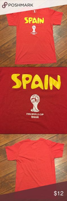 2014 Spain Fifa World Cup Brasil Red T-Shirt S/M Tag cut out so I am not sure on size. Looks like a small/med. I can provide measurements, please ask. Great condition. Fifa Shirts Tees - Short Sleeve