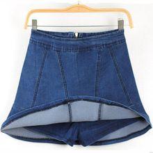 Blue Women Fashion Asymmetrical Overlay Wide Legs Jeans Pants Denim Shorts From Jeans Fatory