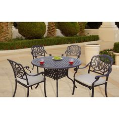 Sicily 5-Piece Dining Set with Seat Cushions, 48 Inch Round Dining Table,Antique Bronze Finish (Antique Bronze), Beige, Size 5-Piece Sets, Patio Furniture
