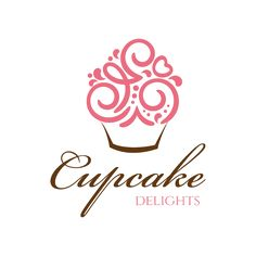 The swirly pink curves with a heart on the top right show that the bakers love making cupcakes it has a feminine esque attitude about it cupcake logo design