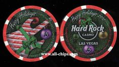 #LasVegasCasinoChip of the Day is a $5 Hard Rock Christmas 2012 you can get here https://www.all-chips.com/ChipDetail.php?ChipID=16367  This was the last Holiday chip Hard Rock made.  #CasinoChip #LasVegas #HappyHolidays