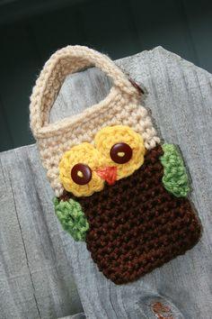 Owl Cell phone case crochet holder case cozy por Loopedwithlove4U