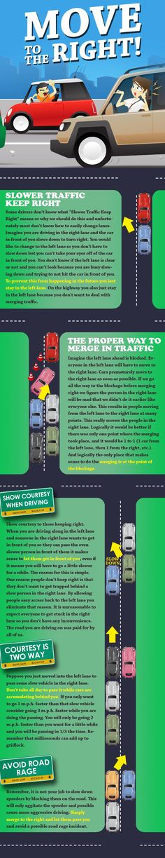 Great Driving Infographic & Tutorial For Moving To the Right When Driving | igottadrive.com  Courtesy of ElderlyDriver.org or Twitter @ ElderlyD