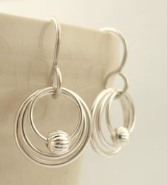 Sterling Silver My Three Hoops Petite Earrings with Textured Beads