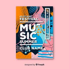 Abstract hand drawn music festival poster Free Vector Festival Logo, Festival Posters, Art Festival, Typography Alphabet, Typography Poster Design, Design Poster, Flyer Design, Graphic Design Brochure, Graphic Design Books