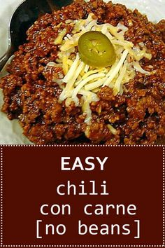 Easy Chili Con Carne (No Beans) Recipe - Famous Last Words Chilli Recipe No Beans, Enchilada Chili Recipe, Chili Burgers Recipe, Steak Chili Recipe, Sauce Chili, Chilli Recipes, Bean Recipes, Ninja Recipes, Homemade Chilli Con Carne