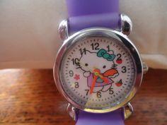 Purple Hello Kitty Angel Kids Girls Soft Silicone Wrist Watch - New!!