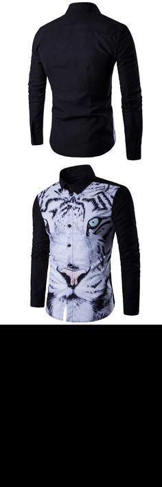 HOT 2017 Spring autumn pack animal white tiger head 3D printing camisa social masculi long sleeve shirt collar shirt male shirt